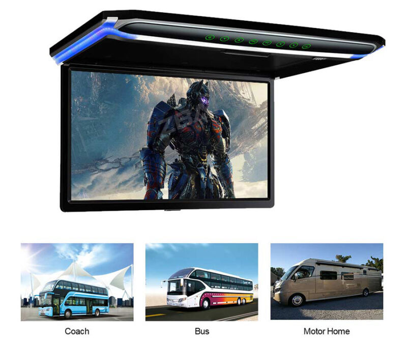 "17.3"" Flip Down Car Roof Mount Monitor Overhead Screen 1080P HDMI Remote Control"