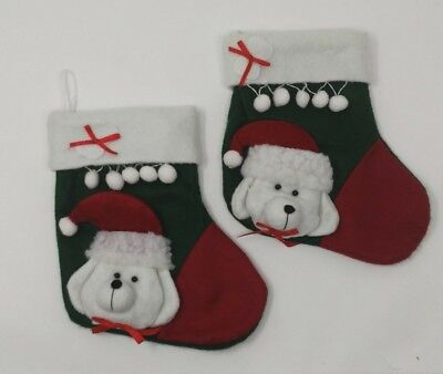 Christmas Stocking Dog Plush 3D Felt Pet Puppy Stockings Lot of 2