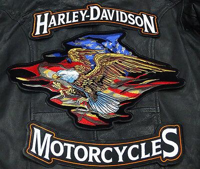 HARLEY 12 INCH TOP BOTTOM ROCKER USA FLAG AMERICAN EAGLE 3PC BACK PATCH