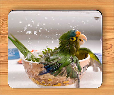 BIRD PARROT BATH TIME IN BOWL MOUSE PAD -uiy6Z