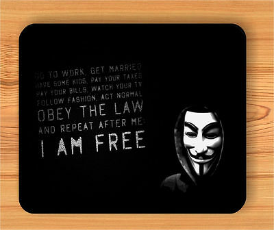 ANONYMOUS WHITE MASK AND QUOTE MOUSE PAD -vw3t