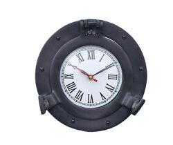 Ship's Cabin Porthole Clock Black Finish 8 Aluminum Hanging Wall Decor New
