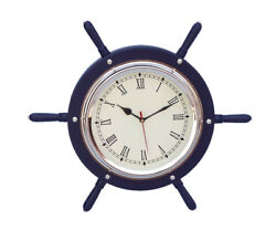 Ships Steering Wheel Blue 15 w/ Chrome Clock Wooden Nautical Hanging Wall Decor