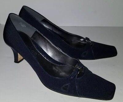 J RENEE navy Blue Fabric Buckle Low Heel Pumps. 7.5 J Renee Low Heel Heels