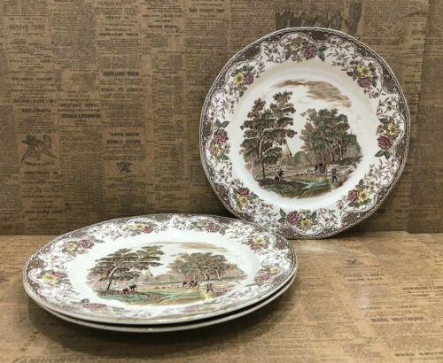 "3 Royal Tudor Ware Olde England: 10"" Dinner Plates Barker Bros Brown Multi-color"