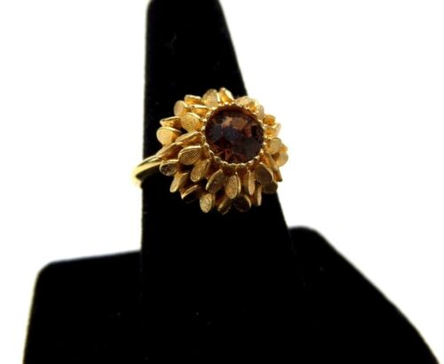 Avon Gold Flower Dark Amber Stone Ring Adjustable Gold Tone Ring Size 8 - 9