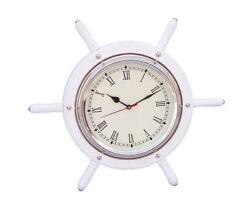 Ships Steering Wheel White 15 w/ Chrome Clock Nautical Wood Hanging Wall Decor