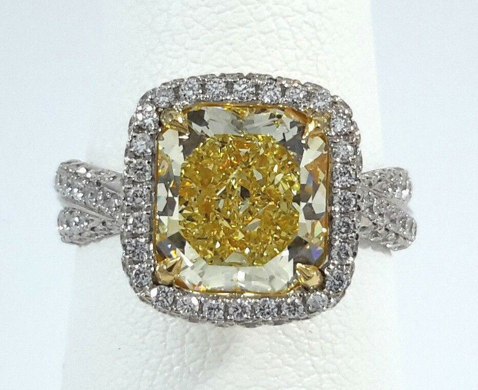 (GIA CERT) 3.15ct Fancy Yellow Diamond Ring - R9876