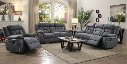 Stone Grey Leatherette Reclining Sofa & Love Seat Living Room Furniture Set