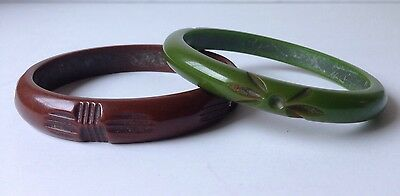 TWO Vintage Bakelite Carved Bangle Bracelets Olive Green And Brown BEAUTIFUL!