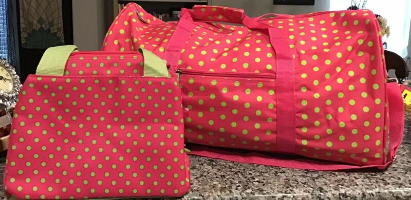 GREEN POLKA DOT ON PINK DUFFLE BAG w/Matching Insulated Lunch Bag NEW