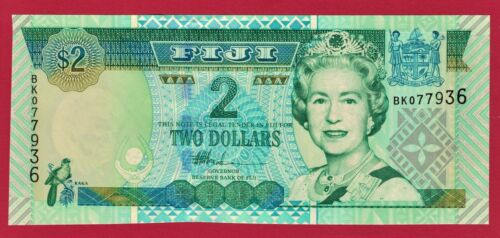 ERROR UNC BANKNOTE - TWO 2 DOLLARS 2002 FIJI (P-104a) - Prefix: BK, PRINTER: DLR