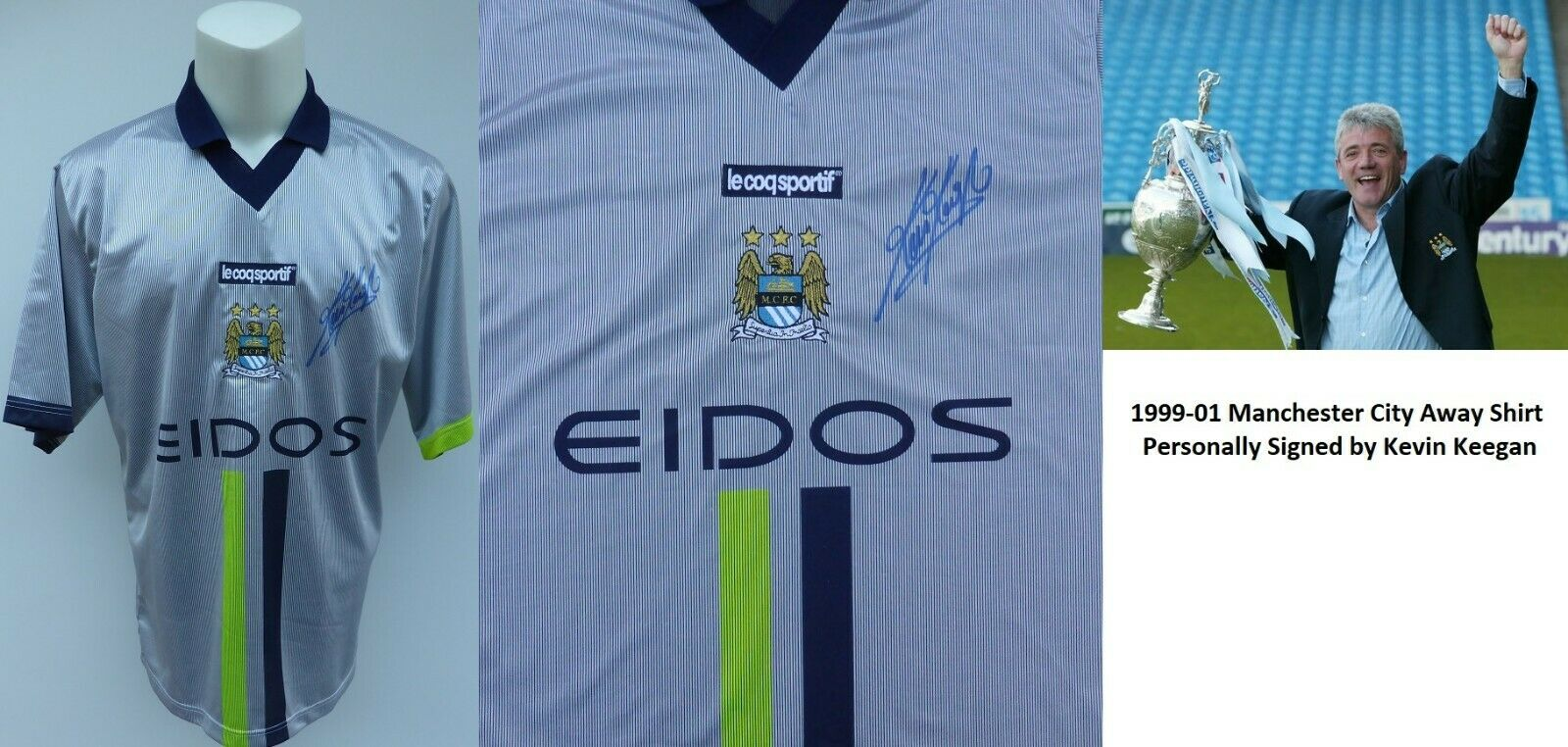 low priced 5d759 c7c46 Details about 1999-01 Original Manchester City Away Shirt Signed by Kevin  Keegan COA (15285)