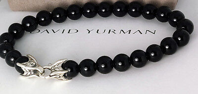 David yurman Sterling Silver 8mm Black Onyx Spiritual Beads Bracelet