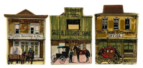 Vintage Old West Main Street Enesco Japan Set 3 Kitchen Canisters 1980 J Downs