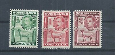 Somaliland stamps.  3 lower values of the 1938 George VI series MH SG 93-5 (P326