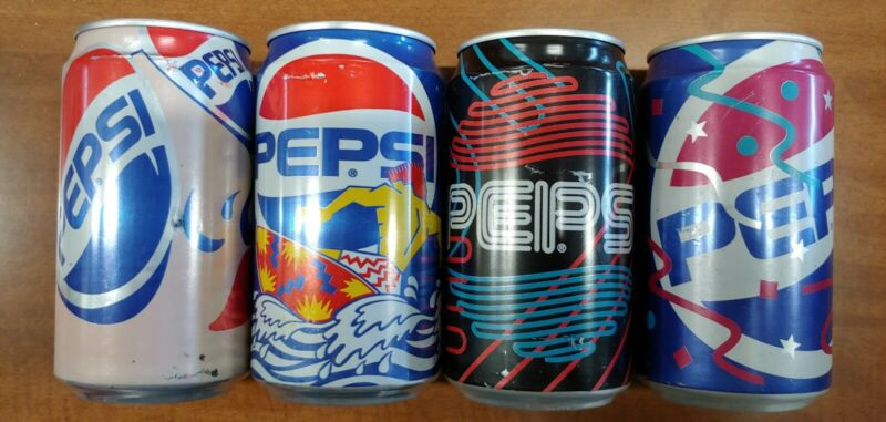 Lot/Set of 4 PEPSI Cool Cans 1990 Vintage/Rare/Limited Edition
