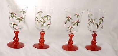"Studio Nova Crystal Holly Berry Red Set of 4 Water Goblets 7 1/2"" NIB"