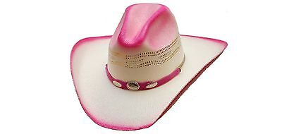 75e5f8494316a Girls Pink Ombre Bangora Western Cattleman Straw Cowgirl Cowboy Hat Kids  Size