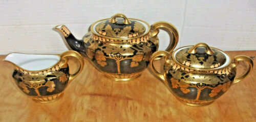Gorgeous 1920s Black & Gold Noritake Teapot Set