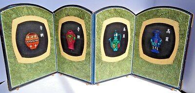 4 Panel Screen China - Antique Asian 4 Panel Folding Table Screen China Korea Dynasty's  SHIPS FREE