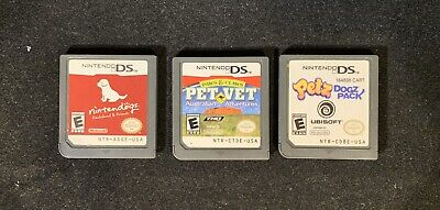 Lot (3) Nintendo DS Games: Petz Dogz Pack, Nintendogs Dachshund, Pet Vet AUS Pet Vet Nintendo Ds