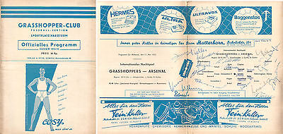 Grasshoppers v. Arsenal 11/5/1955 Friendly - Signed by 15 Grasshoppers Players