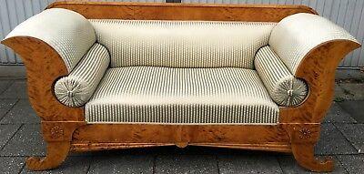 Biedermeier Sofa, geflammte Birke, um 1830