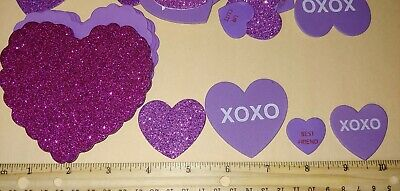 Valentine Hearts Stickers for Crafts or Cards Thin Foam Purple 46 -