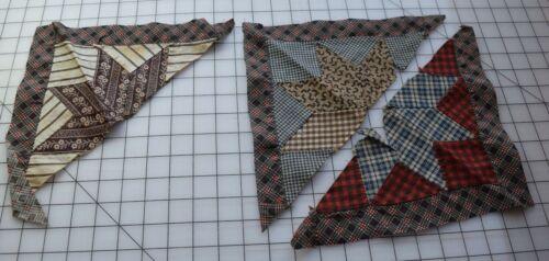 9349 3 Antique 1870-90s  half Lemoyne quilt block, choc brown, thread dyes