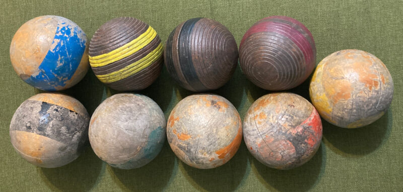 """Lot of 9 Vintage Wood Croquet Balls Ribbed  Stripe Weathered 3.25"""" Some Mishapen"""