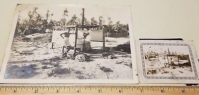1943-1944 USMC VMF-111 Makin Island MARINES - LAUNDRY DAY Photo WW2 Elko Border