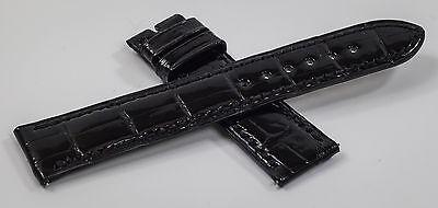 Genuine Harry Winston Black Crocodile Leather Strap Band 19/16.5 mm Brand New