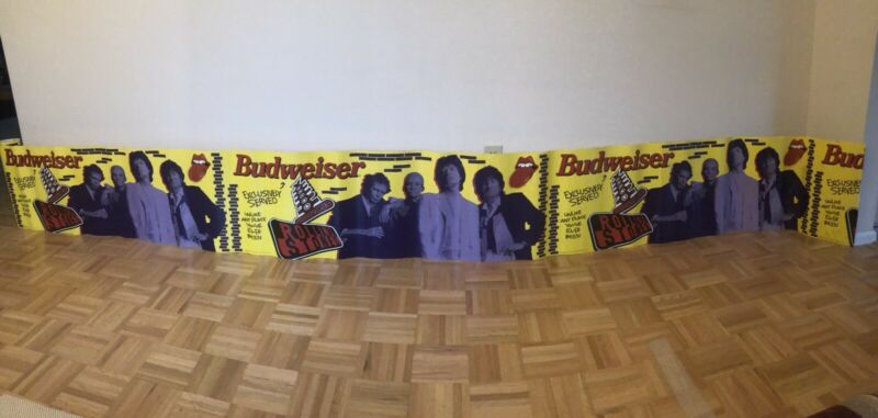 ROLLING STONES VOODOO LOUNGE Budweiser Tour Banner Poster 1994 Long Vintage