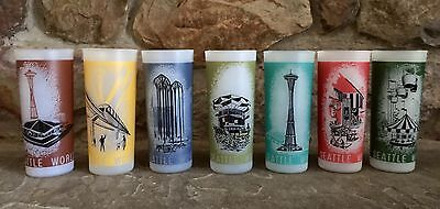 Set of 7 Mid Century 1962 Seattle World's Fair Frosted Glasses