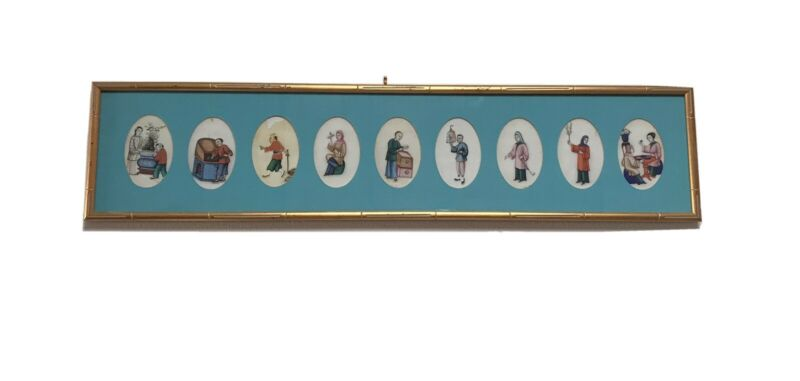 9 Framed Antique Chinese Pith Rice Paper Paintings