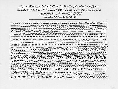New Letterpress Type- 12pt. Cochin Italic
