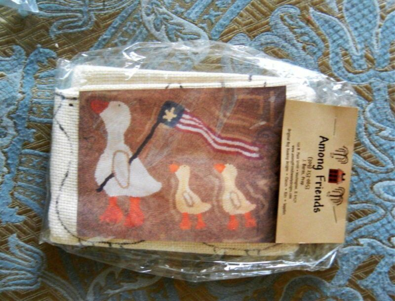 Follow the Leader Prim Rug Hooking Kit - Among Friends - Pattern on Monks Cloth