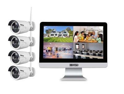 Videoüberwachung WLAN Komplettset 4x HD Kamera, Netzwerkrekorder mit Bildschirm