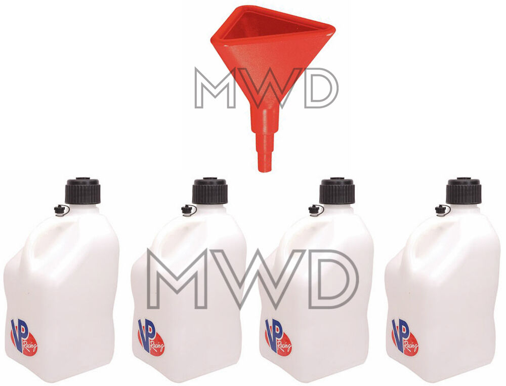 4 Pack Vp 5 Gallon White Racing Fuel Gas Can Water Jug