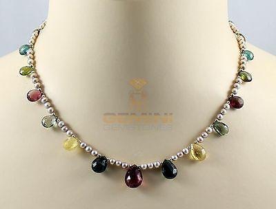 Bunte Turmalin Kette - Turmalin Tropfen Collier  mit Süßwasser-Perlen