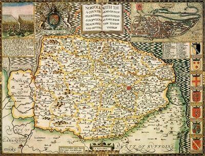Norfolk Historical Laminated Map (1610)