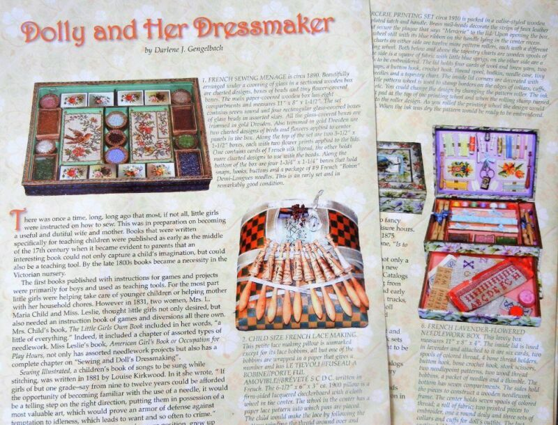 8p History Article + Pics -   Antique Doll Sewing Kits Machines Tools Books
