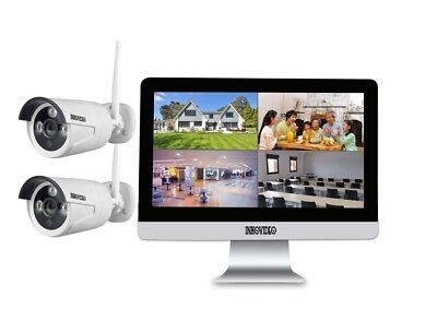Videoüberwachung WLAN Komplettset 2 x HD Kamera, Netzwerkrekorder mit Bildschirm