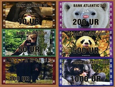 Set  Atlantic Bank 10 50 100 200 500 1000 Ur 2016  Private Issue Unc   Bears