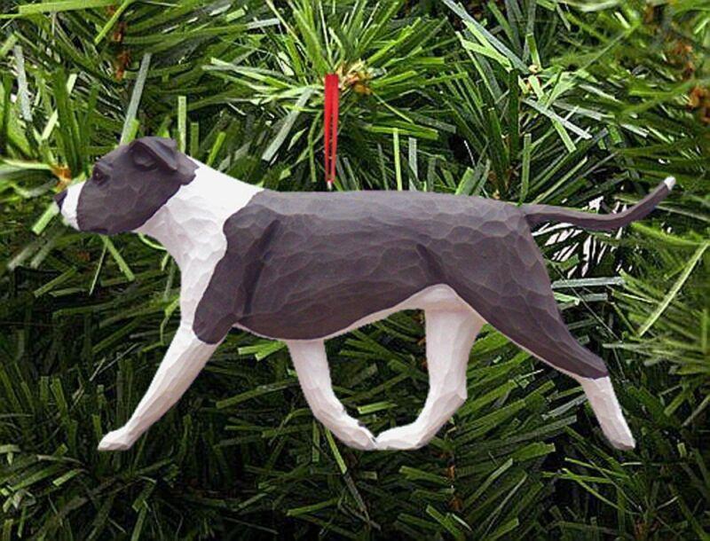 American Staffordshire Terrier Ornament Blue/White