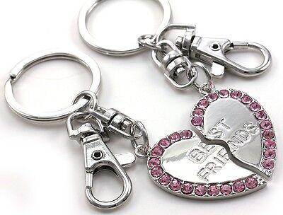 Pink Best Friend BFF Mother's Day Valentine's Day Gift Heart Keychain Key (Mother's Day Gift For Best Friend)
