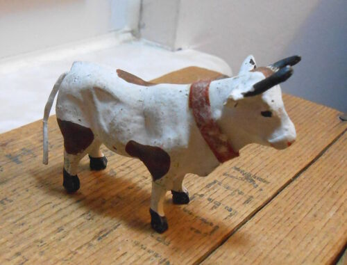 Small Vintage Germany Putz Bull Cow with Red Collar