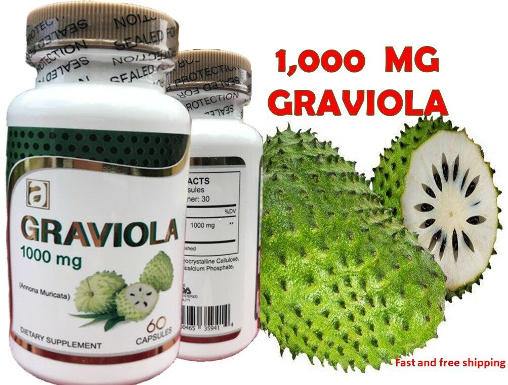 GRAVIOLA EXTRACT 1000 mg 1 Month Guanabana Soursop Immune Antioxidant Supplement