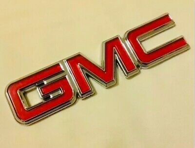 GMC Nameplate Emblems OEM 22764289 Chrome & Red for Pickup Truck SUV Van New